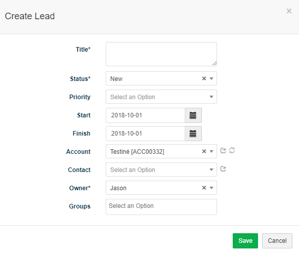 Create lead modal window